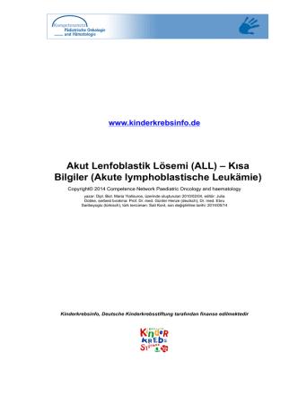 (ALL) – Kısa Bilgiler (Akute lymphoblastische Leukämie)