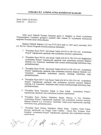 Ankara Valiliği Komisyon Kararları (Eylül 2014)