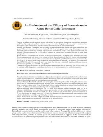 An Evaluation of the Efficacy of Lornoxicam in Acute Renal Colic