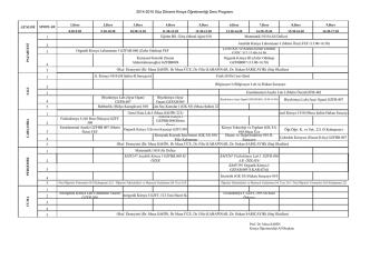 2014-2015 Güz Dönemi Kimya Öğretmenliği Ders Programı 1 2 3 4
