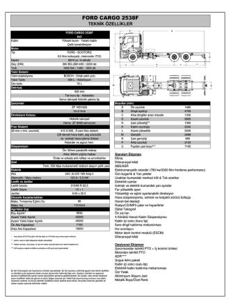 2538F Teknik Özellikleri