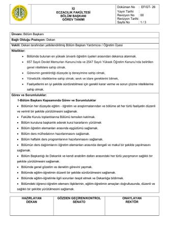 Bölüm başkanı görev tanımı (GT-26)