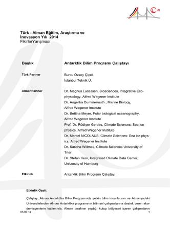 Antarktik Bilim Programı Çalıştayı
