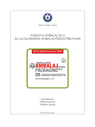avrasya ambalaj 2014 20. uluslararası ambalaj endüstrisi fuarı