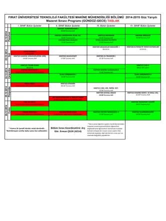 2014-2015 Güz Yarıyılı Mazeret Sınav Programı TASLAK