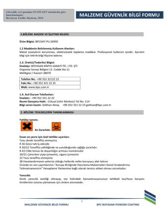 BPCOAT-PU Serisi MSDS - BPC
