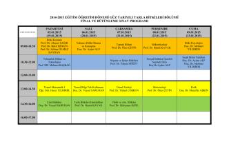 2014-2015 eğitim öğretim dönemi güz yarıyılı tarla bitkileri bölümü