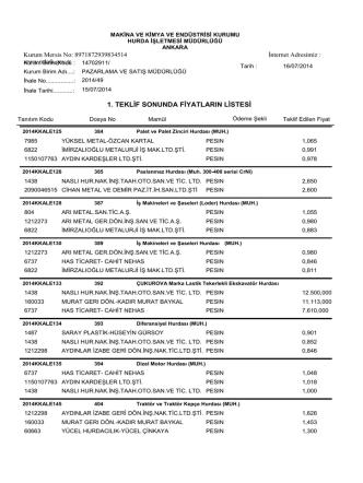 15.07.2014 tarihli ihale teklif listesi