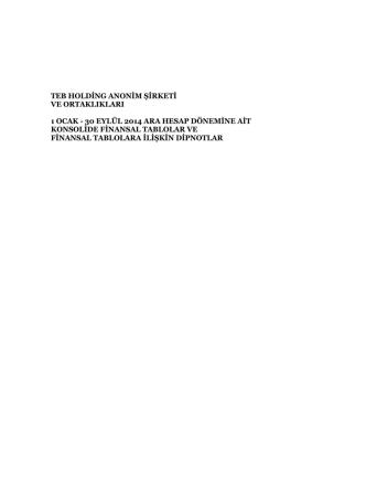 30 Eylül 2014 - TEB Holding A.Ş.