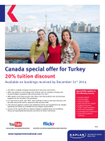 Canada special offer for Turkey 20% tuition discount