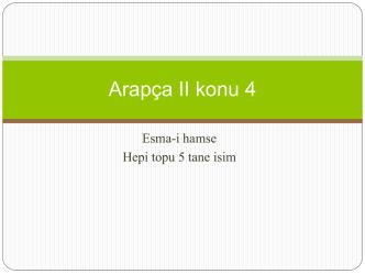 Arapça II konu 4