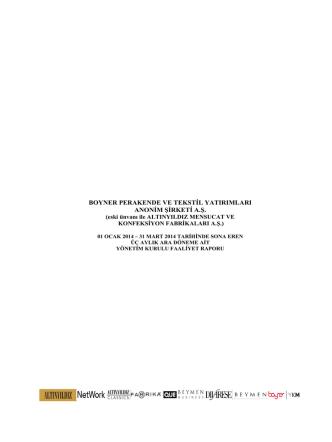 31 Mart 2014 - Boyner Grup
