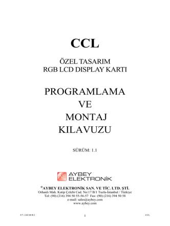 CCL CCL Kullanım Kılavuzu ve Bağlantı Şeması
