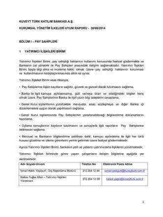 1 kuveyt türk katılım bankası a.ş. kurumsal yönetim ilkeleri uyum