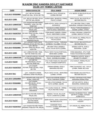 Aylık Yemek Listesi - M. Kazım Dinç Kandıra Devlet Hastanesi