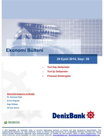 29 Eylül 2014 - Deniz Yatırım