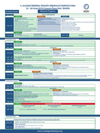 Bilimsel Program - 5. Uludağ Minimal İnvaziv Jinekoloji Sempozyumu