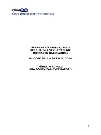 30.09.2014 Yönetim Kurulu Faaliyet Raporu