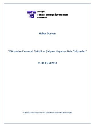 01-30 Eylül 2014 - Türkiye Tekstil Sanayii İşverenleri Sendikası
