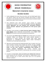 Öğrencilerin Sınavlarda Uyması Gereken Kurallar