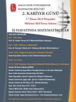 9.30: Açılış Prof. Dr. Adnan Tercan (H.Ü. Matematik Bölüm Başkanı)