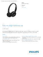 Product Leaflet: Kulak üstü Siyah Bluetooth stereo kulaklık