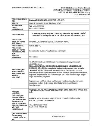 CEVHER (Kurşun-Çinko-Bakır) - Çevre ve Şehircilik Bakanlığı