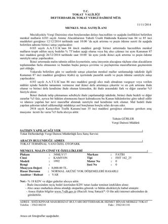 Defterdarlığımız Vergi Dairesince 12/12/2014 tarihinde açık artırma