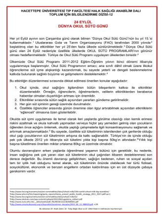 24 eylül dünya okul sütü günü - Hacettepe Üniversitesi Tıp Fakültesi