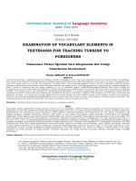 Yabancılara Türkçe Öğretimi Ders Kitaplarında Söz Varlığı