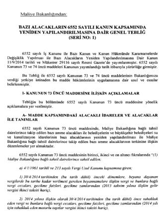 6552 sayılı kanun vergi tebliğleri