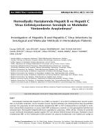 Hemodiyaliz Hastalarında Hepatit B ve Hepatit C Virus