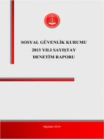SOSYAL GÜVENLİK KURUMU 2013 YILI SAYIŞTAY