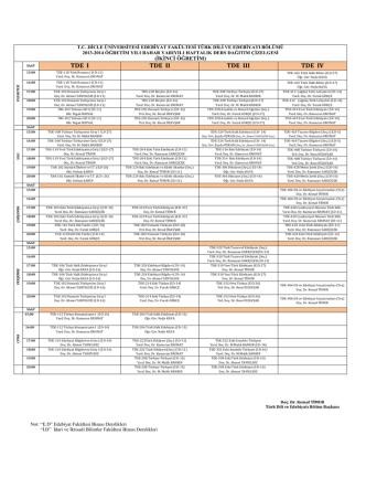 2013-2014 bahar dönemi ikinci öğretim ders