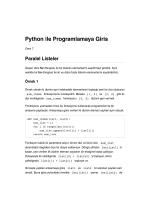 Python ile Programlamaya Giris Paralel Listeler
