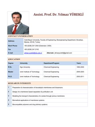 Assist. Prof. Dr. Yılmaz YÜREKLİ