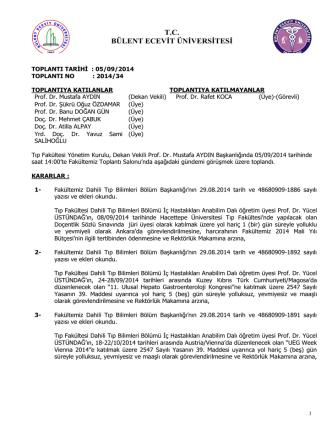 05/09/2014 Tıp Fakültesi Yönetim Kurulu Kararı