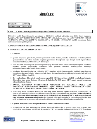 2014-38 Numaralı Sirkülerler - KAPSAM Yeminli Mali Müşavirlik