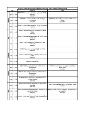 2014-2015 Lisansüstü ders programı