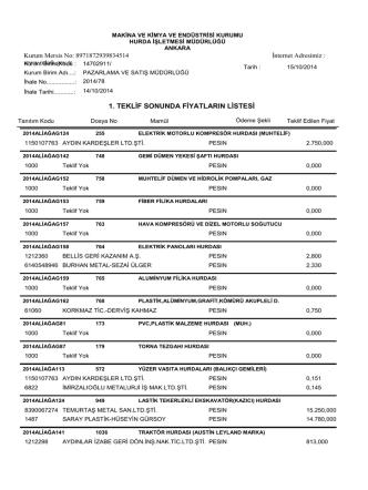 14.10.2014 ihale teklif sonuçları