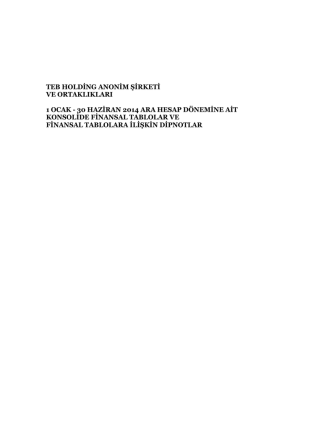 30 Haziran 2014 - TEB Holding A.Ş.