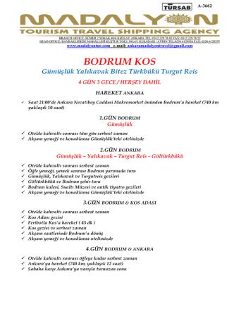 BODRUM KOS Tur Programı ve Ücret Detayları