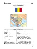 ROMANYA CUMHURİYETİ GENEL BİLGİLER (2012) RESMİ ADI