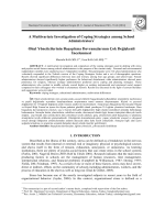 A Multivariate Investigation of Coping Strategies among School