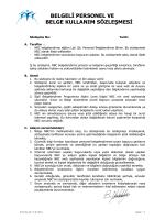 belgeli personel ve belge kullanım sözleşmesi