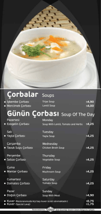 Çorbalar Soups Günün Çorbası Soup Of The Day