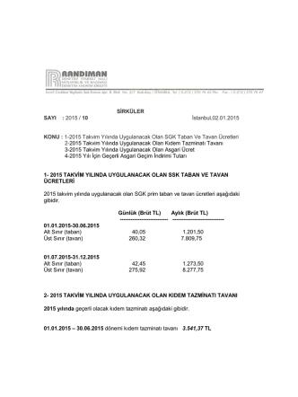 2015 Yılı SGK Ücretleri, Kıdem Tazminatı Tavanı, Asgari Ücret ve