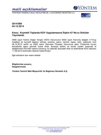 2014-066 Kıymetli Taşlarda KDV Uygulamasına İlişkin 67 No.lu