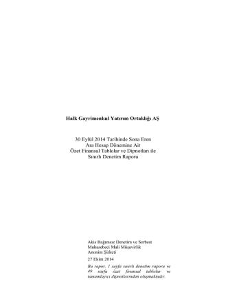 30.09.2014 Bağımsız Denetim Raporu İNDİR