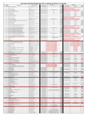 2014-2015 eğitim-öğretim güz yarıyıl içi sınav takvimi